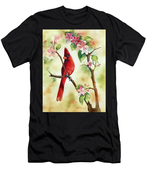 Red Cardinal And Blossoms Men's T-Shirt (Athletic Fit)
