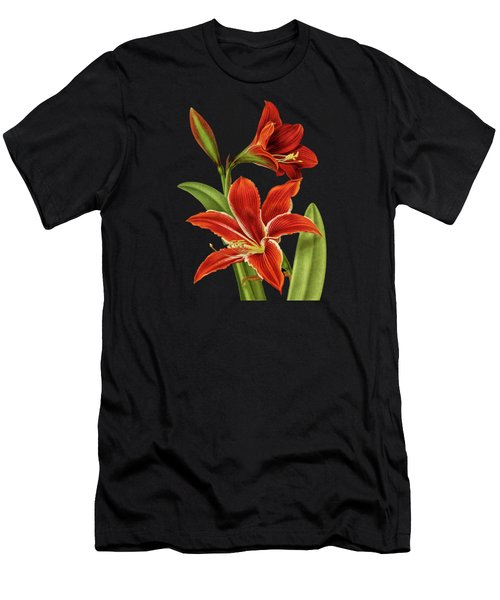 Red Christmas Lily Men's T-Shirt (Athletic Fit)