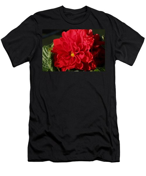 Men's T-Shirt (Athletic Fit) featuring the photograph Red Dahlia Macro by Sheila Brown