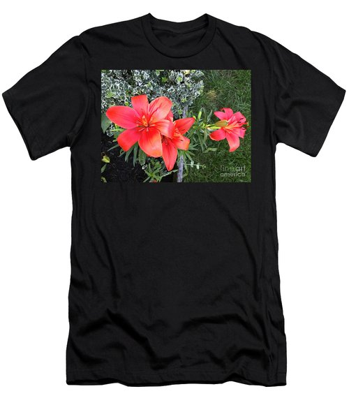 Red Day Lilies Men's T-Shirt (Athletic Fit)