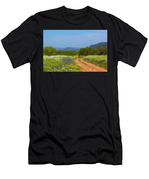 Red Dirt Road With Wild Flowers Men's T-Shirt (Athletic Fit)