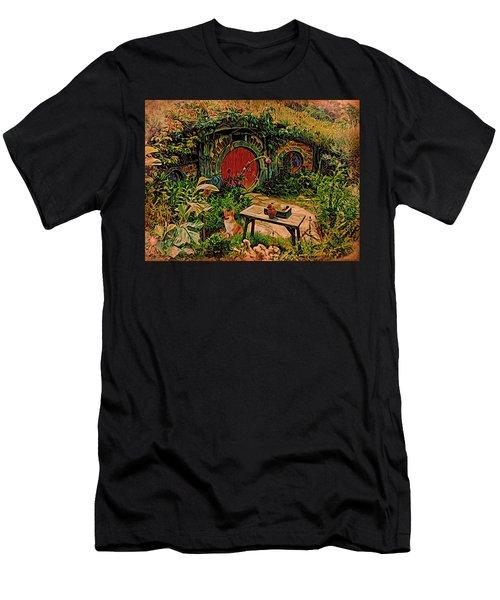 Red Door Hobbit House With Corgi Men's T-Shirt (Athletic Fit)