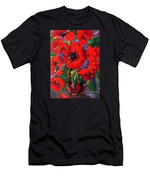 Red Floral Men's T-Shirt (Athletic Fit)
