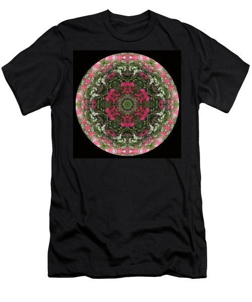 Red Flower Faces Kaleidoscope Men's T-Shirt (Athletic Fit)