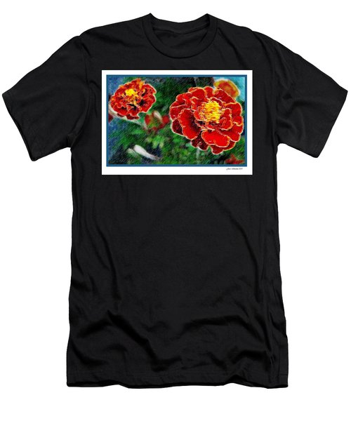 Men's T-Shirt (Slim Fit) featuring the photograph Red Flower In Autumn by Joan  Minchak