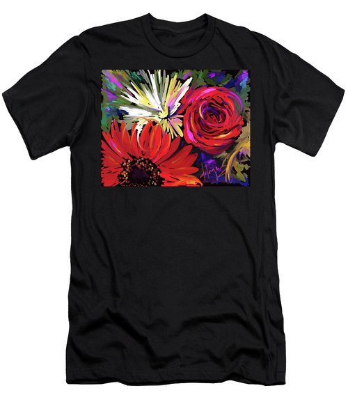 Red Flowers Men's T-Shirt (Slim Fit) by DC Langer