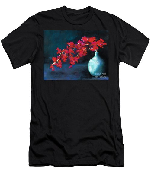 Red Flowers Men's T-Shirt (Slim Fit) by Frances Marino