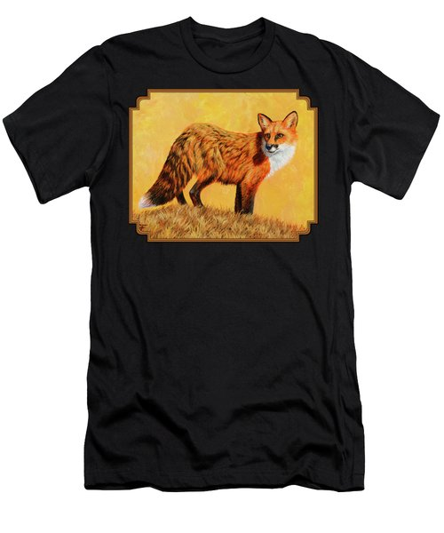Red Fox Painting - Looking Back Men's T-Shirt (Athletic Fit)