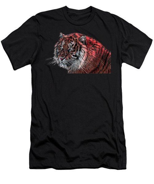 Red Fractal Tiger Men's T-Shirt (Athletic Fit)