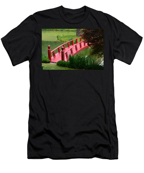 Men's T-Shirt (Slim Fit) featuring the photograph Red Garden Bridge by Kathleen Stephens
