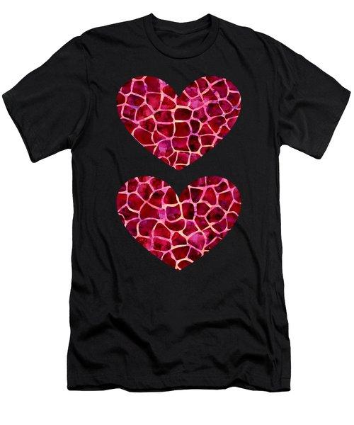 Red Giraffe Print Men's T-Shirt (Athletic Fit)