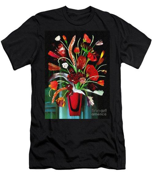 Red Glass Bouquet Men's T-Shirt (Athletic Fit)