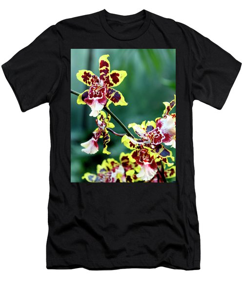 Striped Maroon And Yellow Orchid Men's T-Shirt (Athletic Fit)