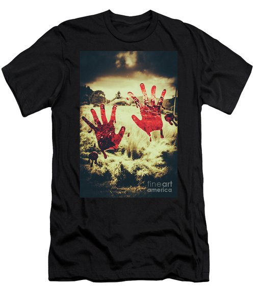 Red Handprints On Glass Of Windows Men's T-Shirt (Athletic Fit)
