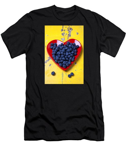 Red Heart Plate With Blueberries Men's T-Shirt (Athletic Fit)