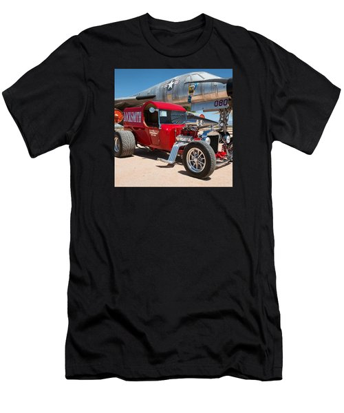Red Hot Rod Next To Vintage Airplane  Men's T-Shirt (Athletic Fit)