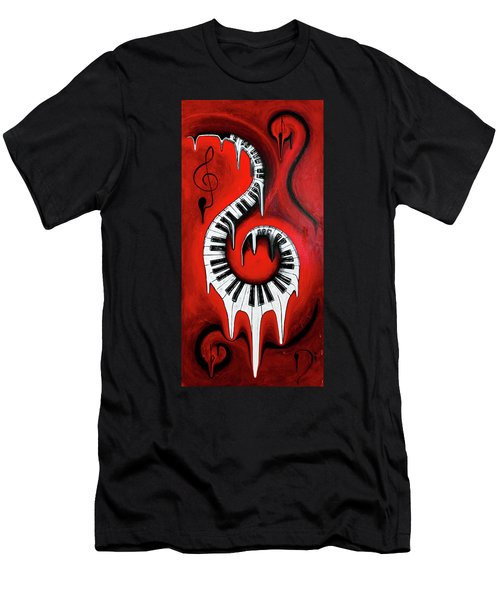 Red Hot - Swirling Piano Keys - Music In Motion Men's T-Shirt (Athletic Fit)