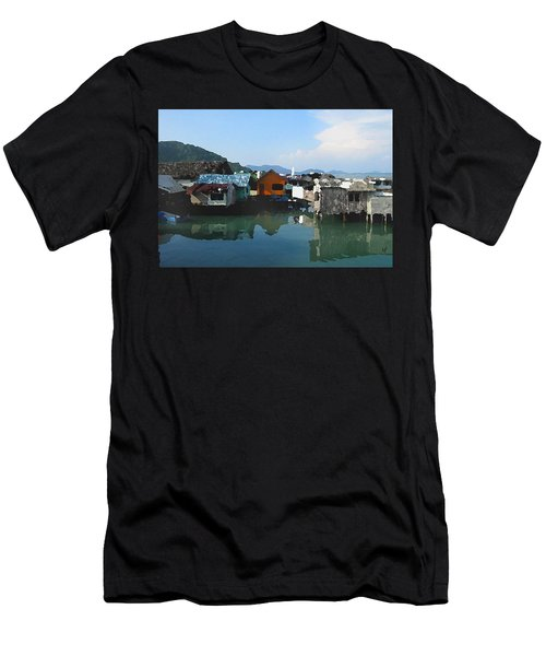 Men's T-Shirt (Athletic Fit) featuring the digital art Red House On The Water by Shelli Fitzpatrick