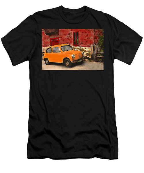 Red House With Orange Car Men's T-Shirt (Athletic Fit)