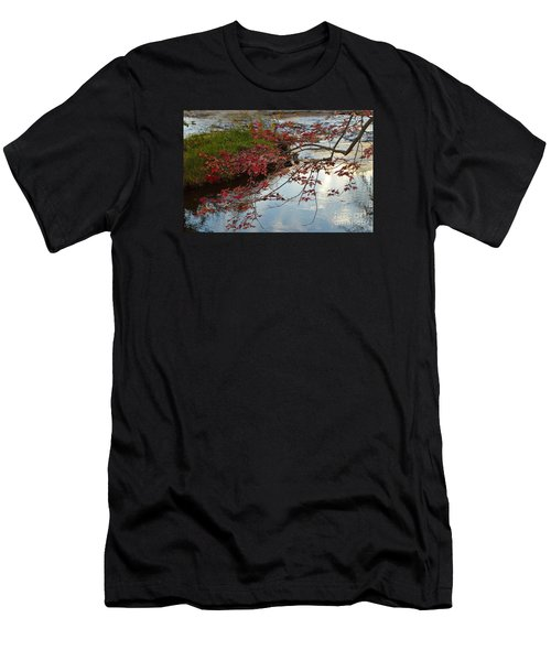 Red Leaves In Falls Park Creek Men's T-Shirt (Athletic Fit)