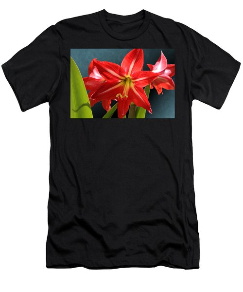 Red Lily Flower Trio Men's T-Shirt (Athletic Fit)