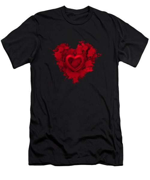Red Love 1 Men's T-Shirt (Athletic Fit)