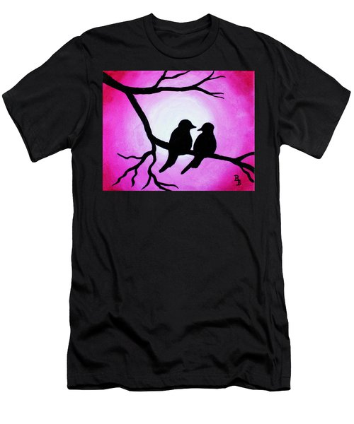 Red Love Birds Silhouette Men's T-Shirt (Athletic Fit)