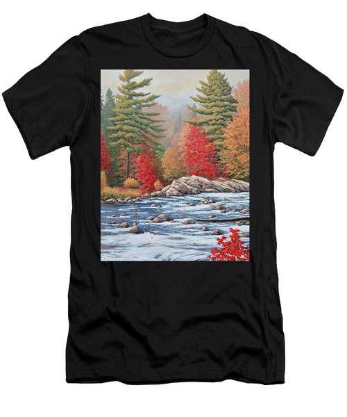Red Maples, White Water Men's T-Shirt (Athletic Fit)