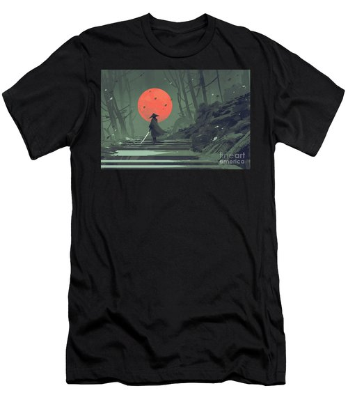 Red Moon Night Men's T-Shirt (Athletic Fit)