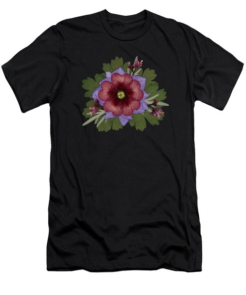 Red Open Faced Potentilla Pressed Flower Arrangement Men's T-Shirt (Athletic Fit)