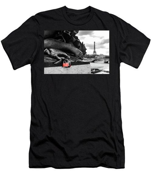 Red Padlocks In Paris Men's T-Shirt (Athletic Fit)
