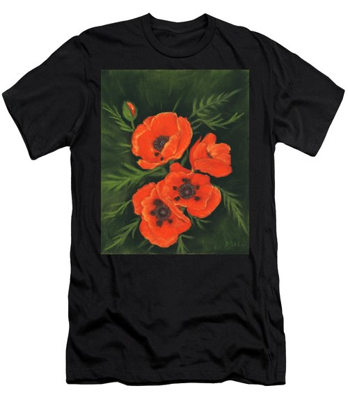 Men's T-Shirt (Athletic Fit) featuring the painting Red Poppies by Anastasiya Malakhova