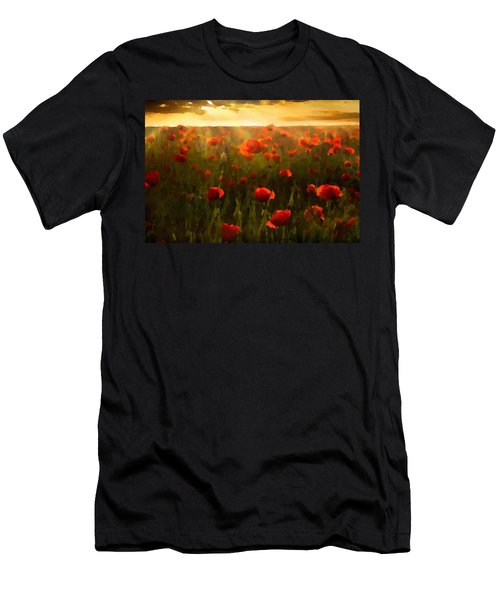 Men's T-Shirt (Athletic Fit) featuring the digital art Red Poppies In The Sun by Shelli Fitzpatrick