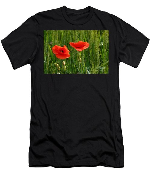 Red Poppy Flowers In Grassland 2 Men's T-Shirt (Athletic Fit)