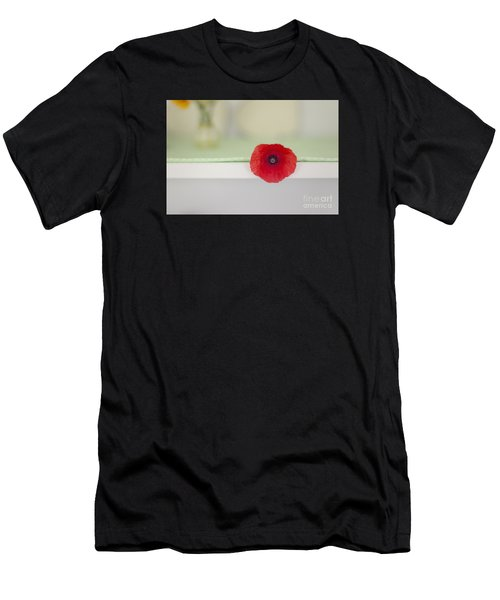 Red Poppy On Windowsill Men's T-Shirt (Athletic Fit)