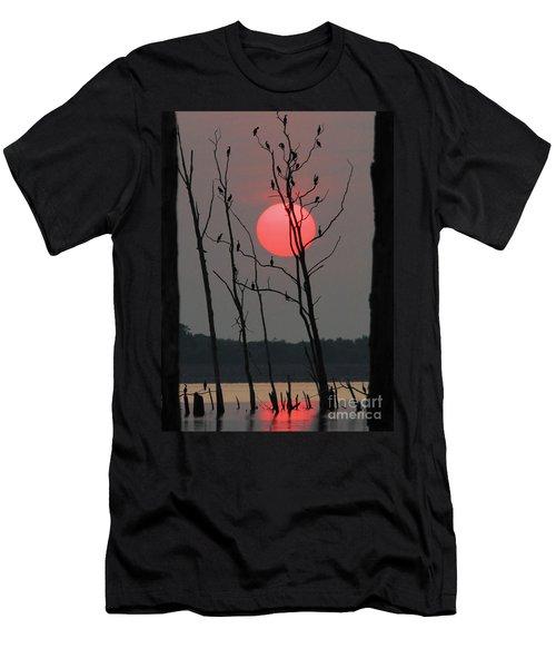 Red Rise Cormorants Men's T-Shirt (Slim Fit) by Roger Becker