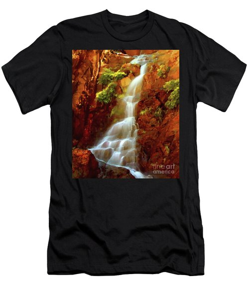 Men's T-Shirt (Slim Fit) featuring the painting Red River Falls by Peter Piatt