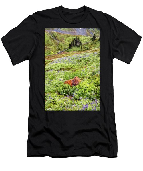 Men's T-Shirt (Athletic Fit) featuring the photograph Red Rock Of Rainier by Pierre Leclerc Photography