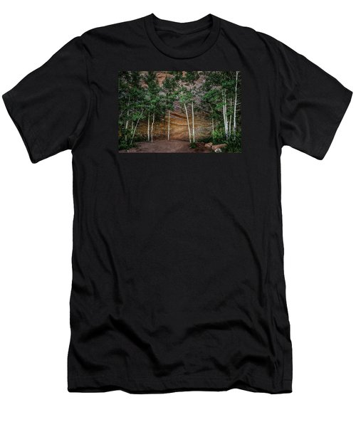 Red Rock Wall Men's T-Shirt (Slim Fit) by Mary Angelini