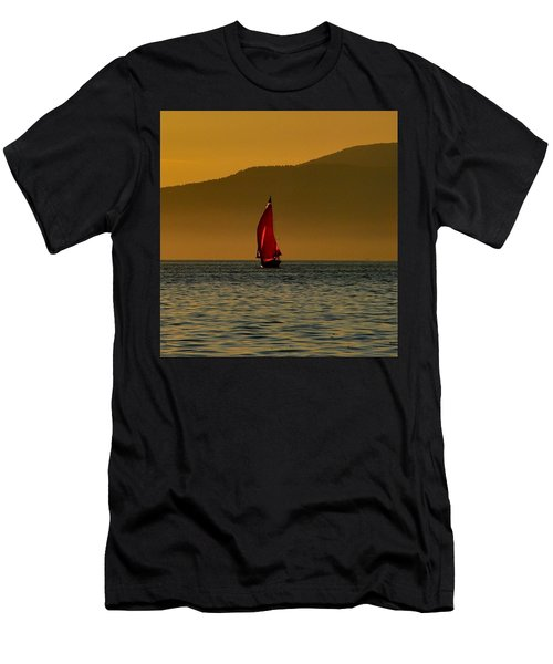 Red Sailboat Men's T-Shirt (Athletic Fit)
