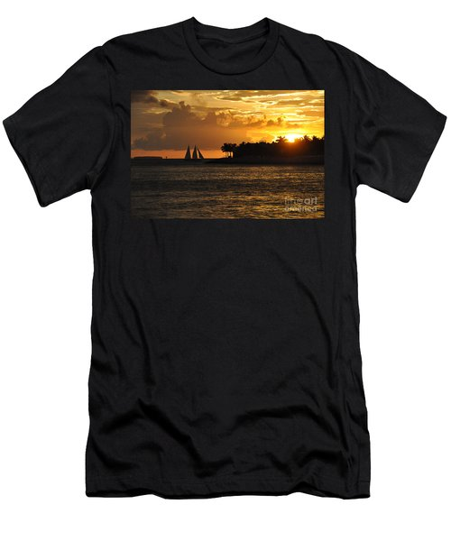 Men's T-Shirt (Slim Fit) featuring the photograph Red Sails At Night by John Black