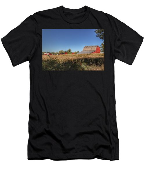 0042 - Red Saltbox Barn Men's T-Shirt (Athletic Fit)