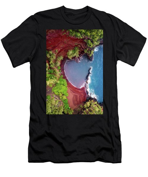Red Sand Heart Men's T-Shirt (Athletic Fit)