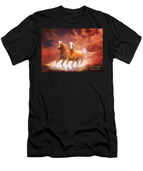 Men's T-Shirt (Athletic Fit) featuring the painting Red Sky Run by Melinda Hughes-Berland