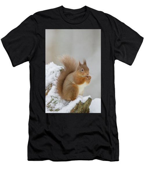 Red Squirrel In The Snow Side On Men's T-Shirt (Athletic Fit)