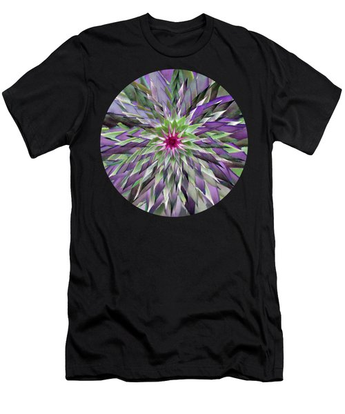 Red Star Thistle Kaleidoscope Men's T-Shirt (Athletic Fit)