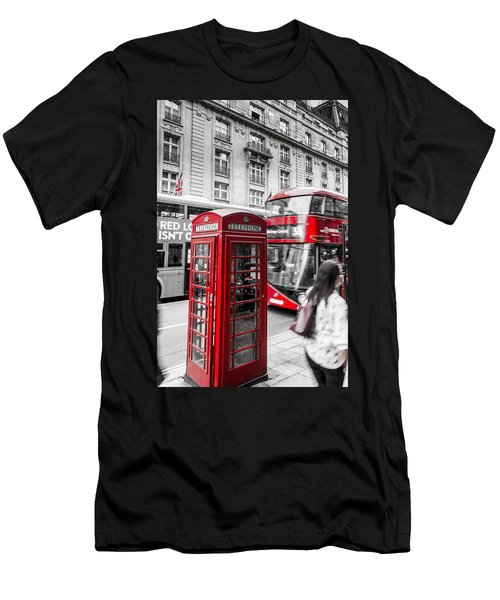 Red Telephone Box With Red Bus In London Men's T-Shirt (Athletic Fit)
