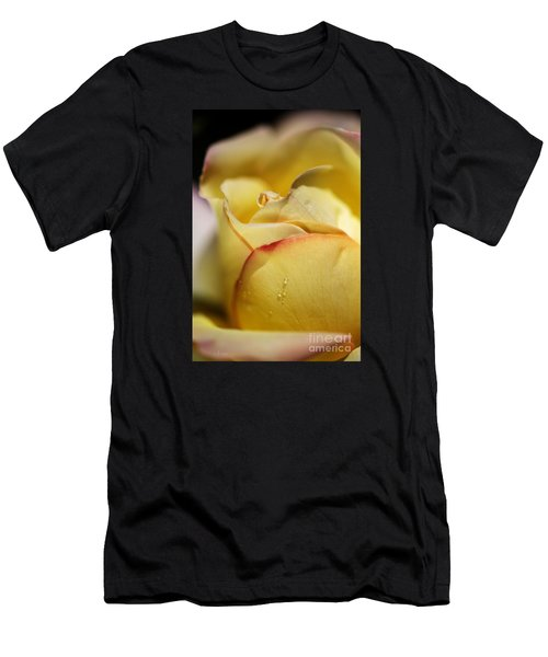 Red Tipped Yellow Rose Men's T-Shirt (Athletic Fit)
