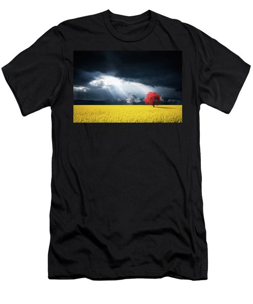 Red Tree On Canola Meadow Men's T-Shirt (Athletic Fit)