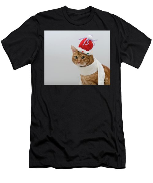 Red Tubby Cat Tabasco Christmas Hat Men's T-Shirt (Athletic Fit)